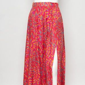 Rachel Zoe Silk Pink Leopard Maxi Skirt - 2